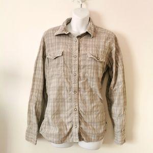 North face 100% cotton button up blouse XL